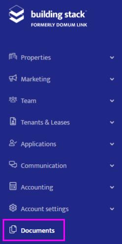 Documents module in the sidebar menu