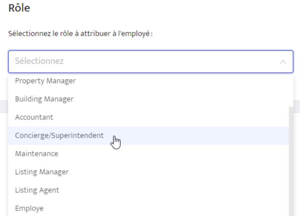 Menu déroulant Rôle sur la page détaillée de l'employée