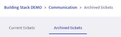 Archived tickets tab
