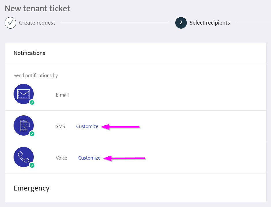 Use customized ticket notifications