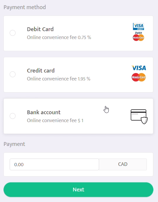 Online payments on the tenant portal